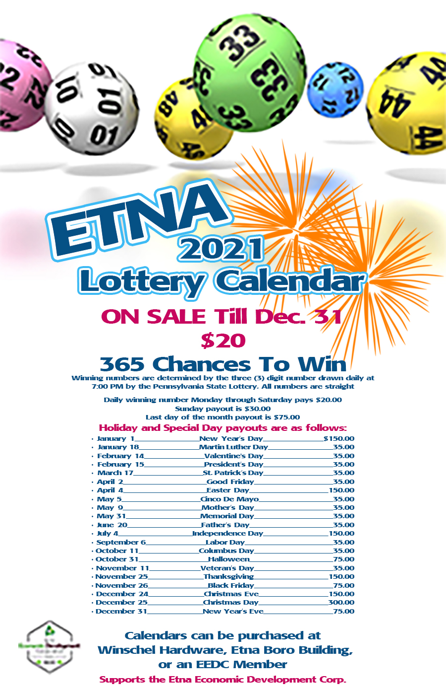 EEDC Lottery Calendars On Sale Now